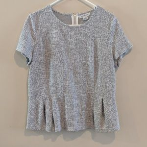 Liz Claiborne boucle peplum top light grey XL